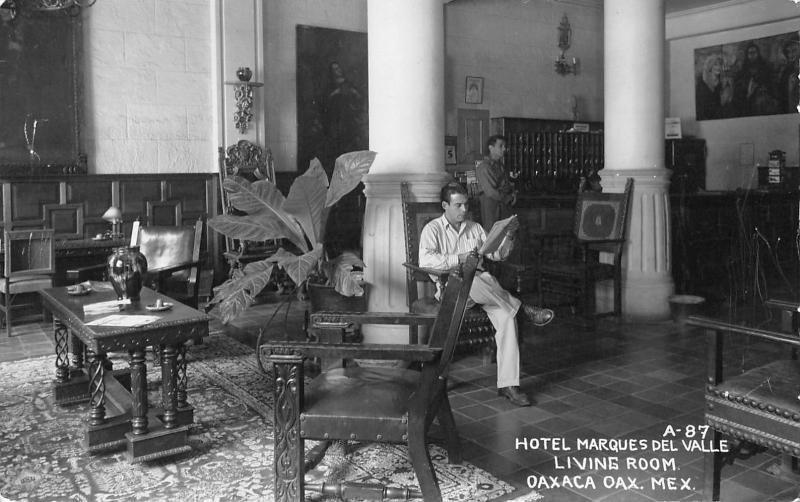 Oaxaca de Juárez Mexico~Hotel Marques Del Valle~Man Reads~Lobby~Desk~1940s RPPC