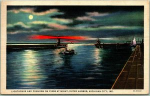 Michigan City, IN Postcard Lighthouse & Foghorn on Piers at Night Linen 1940s