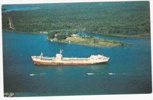Aerial View, Ocean Freighter, St. Mary's Rive, SAUL STE. MARIE, Ontario, Cana...
