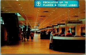 1950s Chicago, Illinois Postcard CHICAGO O'HARE AIRPORT Ticket Desk View