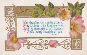 GREETINGS, 1900-10s; Well Wishes Message, Pink Flowers, Gold Detail