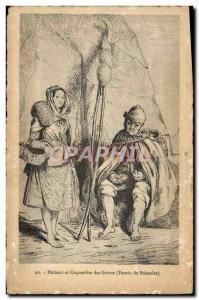 Old Postcard Fishing Fisherman and coqueti?re des Greves Drawing Boisselat