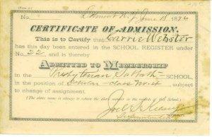 BELMONT NY  PRESBYTERIAN SABBATH SCHOOL for CARRIE WEBSTER / 1876 / certificate