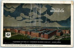 Akron, Ohio Postcard Factories of the B.F. GOODRICH RUBBER COMPANY 1924 Cancel