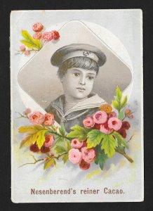 VICTORIAN TRADE CARD Nesenberends Cocoa Boy Portrait & Roses