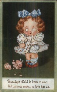 Children Day of the Week Series THURSDAY Born to Woe Broken Doll Postcard