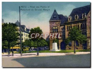 Old Postcard Metz Hotel Post and Monument of General Mangin