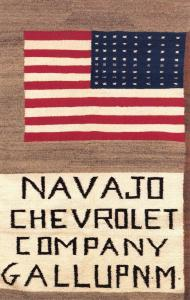 Postcard USA, Navajo Indian Flag from Chevrolet Dealership in Gallup, New Mexico