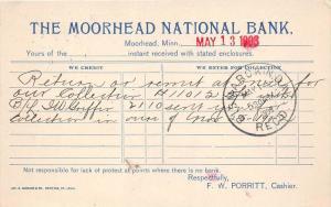 Minnesota Moorhead   The Moorhead National Bank,  Return Check Notice