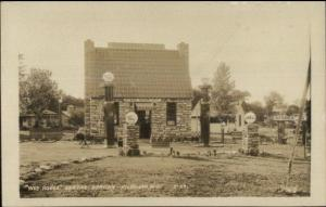 Kilbourn WI Wee House Service Shell Gas Station Old Real Photo Postcard