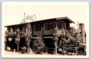 Custer South Dakota~Gray Rocks Camp Ground~Roof Garden Tea Room~1930s RPPC