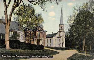 25926 MA, Southboro 1915, Town Hall and Congregational Church