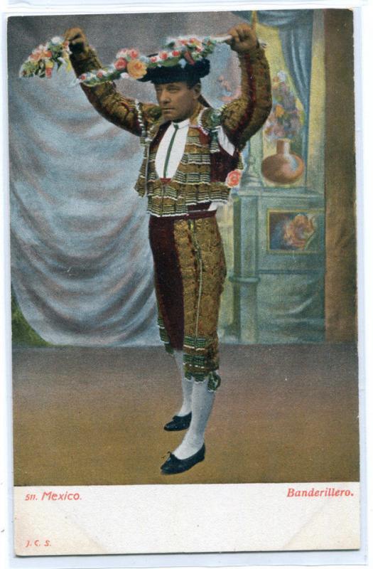 Banderillero Bull Fighter Mexico 1907c postcard