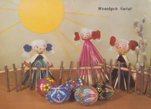 Poland Corn Dolls In Long Pink Fashion Dress Dolly Polish Happy Easter Postcard