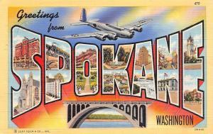 Spokane Washington~Large Letter Linen Postcard~US Navy Plane~1942 Postcard