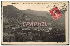 Postcard Old Embrun Vue Generale in the background Peak Meable and mountain O...