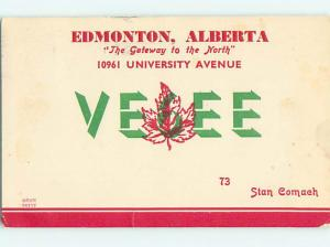 1948 Vintage Qsl Ham Radio Card In Edmonton Alberta AB Canada t1915