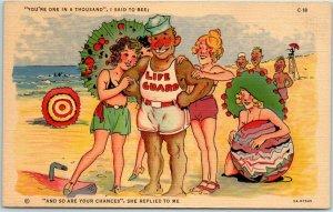 1940sRAY WALTERS Comic Postcard Lifeguard / Girls Beach Curteich Linen 5A-H1540