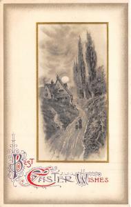Easter~Victorian Mom & Daughter on Long Path~Hillside House~Moon~Emboss~Winsch