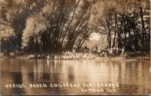 Aurora IL Kids Line Up Knee-High in Water~Bikes~Boat~Bench~Vestergaard RPPC 1910