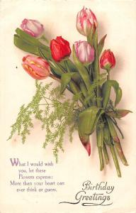 Birthday Greetings, What I would wish you, Flowers, tulips, bouquet
