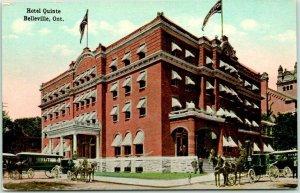 BELLEVILLE, Ontario Canada Postcard HOTEL QUINTE Street View Stage Coach c1910s