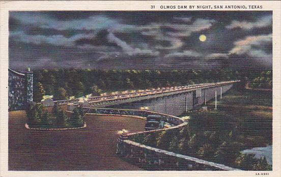 Olmos Dam at night , SAN ANTONIO , Texas , PU-1955