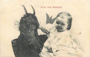 Smiling Child Krampus Devil Holidays Christmas fantasy 1905