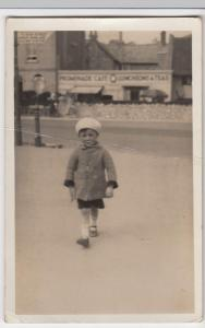 Young Boy In Front Of Promenade Cafe Weston Super Mare RP PPC By Jackson's Faces