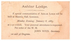 Masonic, Ashlar Lodge, January 8 1883 Maine lewiston