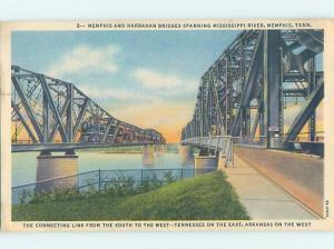 Unused Linen BRIDGE SCENE Memphis Tennessee TN H8100