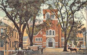 Plymouth MA Town Square Horse & Wagons Postcard