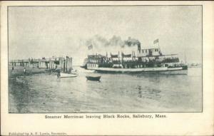 Salisbury MA Steamer Ship Merrimac Leaving Black Rocks c1905 UDB Postcard