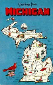 Michigan Greetings With Map From The Wolverine State