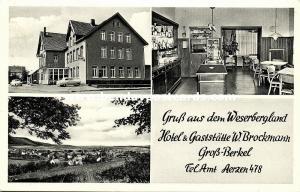 germany, GROSS-BERKEL, Westerbergland, Hotel und Gaststätte W. Brockmann (1950s)