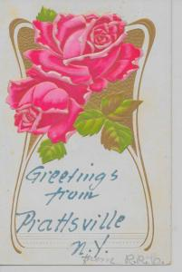 Prattsville New York Greetings From pink roses embossed antique pc Z17496