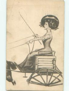 Pre-Linen Slight Risque Interest WOMAN IN HORSE CARRIAGE RAISES WHIP AB7848