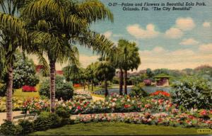 Florida Orlando Palms and Flowers At Lake Eola 1952 Curteich