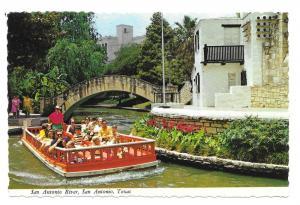 Texas San Antonio River Tour Taxi Riverwalk Boat Postcard