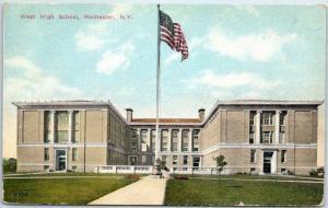 Rochester, New York Postcard WEST HIGH SCHOOL Building View w/ 1910 Cancel