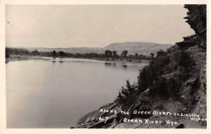Green River Wyoming Scenic Waterfront Real Photo Antique Postcard K77896