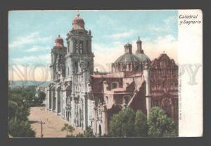 088161 Mexico Catedral y Sagrario Vintage lithograph PC