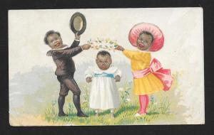 VICTORIAN TRADE CARD Royal Bakery Dressed up Black Kids