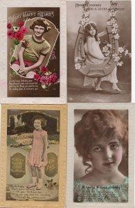 Antique Birthday Greetings Real Photo Children 4x Postcard s