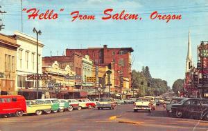 Salem OR Storefronts State Street Old Cars Postcard