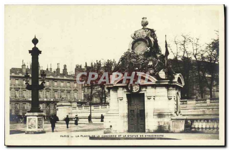 Old Postcard Paris Place De La Concorde and the statue of Strasbourg