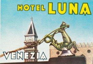 Italy Venezia Hotel Luna Vintage Luggage Label lbl0381