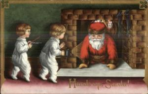 Christmas - Kids Catch Santa Claus in Fireplace c1910 Postcard