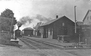 Thorndike ME Central Railroad Station Train Depot RPPC Postcard