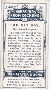 Cigarette Cards Players Characters From Dickens No 21 The Fat Boy